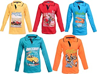Krystle Boys Printed Polo Collar T-Shirt Combo Pack of 5
