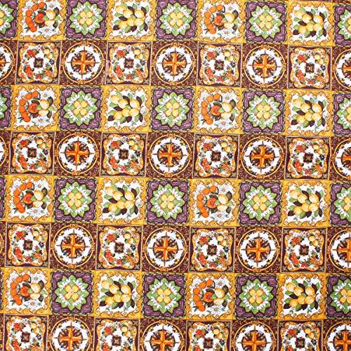 SaRani - Mantel de tela de algodón al metro, diseño de cuadros dorados