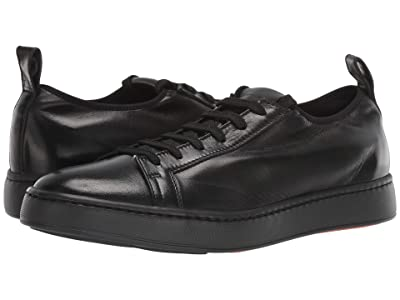 Santoni Cleanic Stretch Leather Lace-Up Sneaker (Black) Men