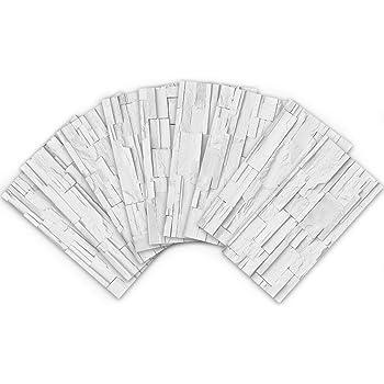 Bianco 30.5x30.5CM Piastrelle Adesivi Muro 3D Mattonelle Sticker Auto-Adesivo Decorativo Gel Rivestimento Parete Confine Decorativo Impermeabile Cucina Bagno Profesticker 4 Fogli 12x12