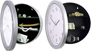 Novelty Wall Clock Diversion Safe Secret Stash Money Cash Jewelry Toy Storage Security Lock Box Tin Container Organiser