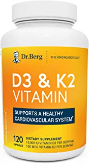 Dr. Berg's D3 & K2 Vitamin - D3K2 Supplement w/ Purified Bile Salts - Support Healthy Heart, Bone & Joint - 10,000 IU of V...