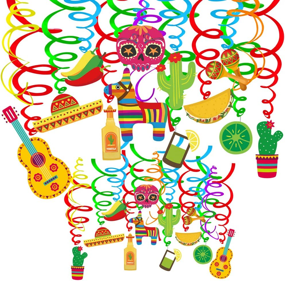 Supla 30 pcs Fiesta Hanging San Francisco Mall Swirl Regular discount Decorations Cin Mexican