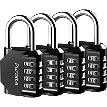 Puroma 4 Pack Combination Lock 4 Digit Outdoor Waterproof Padlock for School Gym Locker, Sports Locker, Fence, Toolbox, Gate, Case, Hasp Storage (Black)