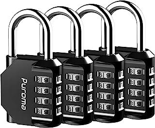 Puroma 4 Pack Combination Lock 4 Digit Padlock for School Gym Locker, Sports Locker, Fence, Toolbox, Case, Hasp Storage