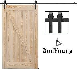 DonYoung 10FT Sliding Barn Door Hardware Kit for Single Door, Heavy Duty Steel Barn Door Track Quiet and Smooth Wheel, Includes All Necessary Accessories, Black (2PCS J Shape Hanger)