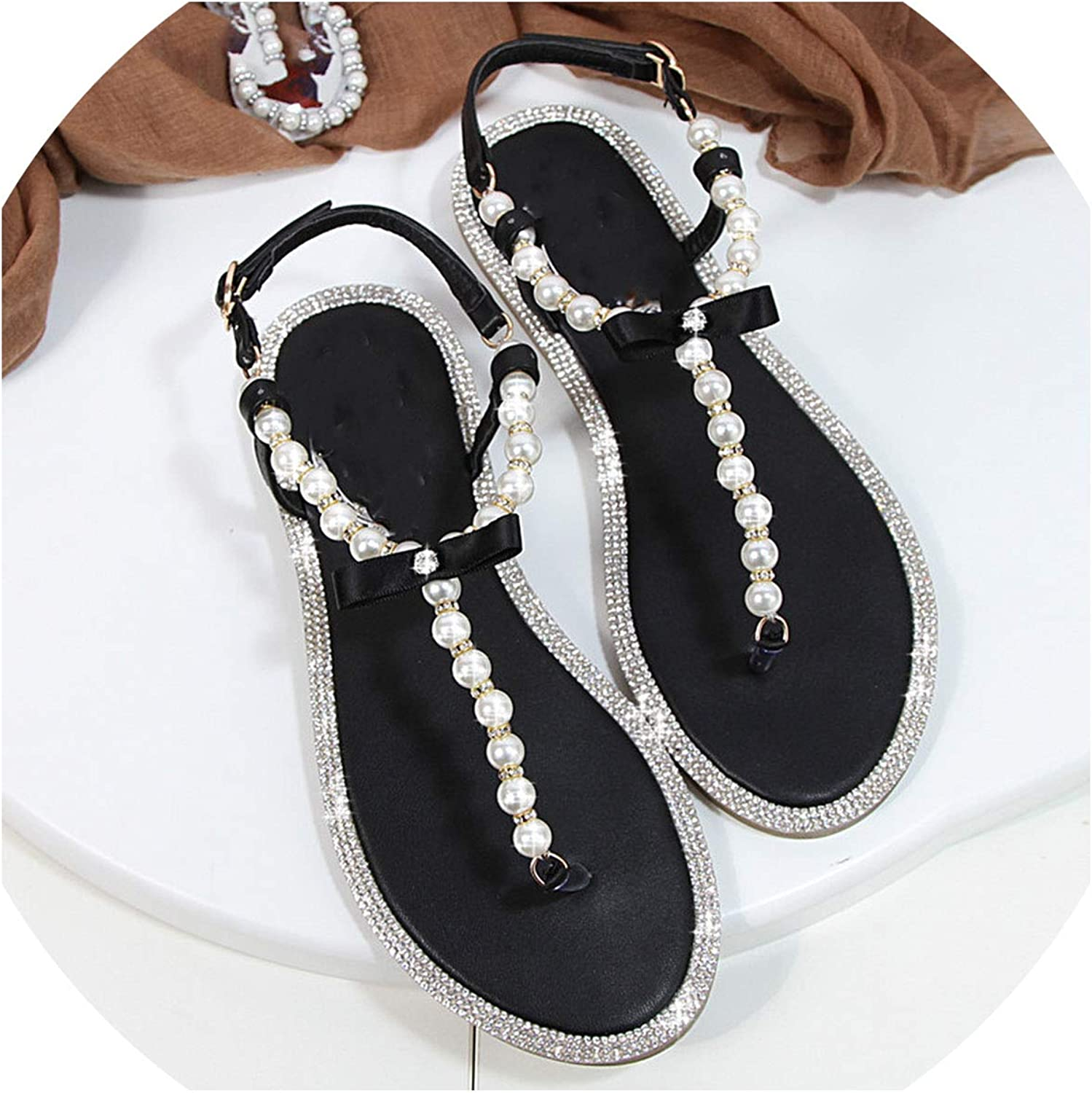 Women Sandals 2019 New Summer shoes Flat Pearl Sandals Comfortable String Bead Beach Slippers Casual Sandals Pink White Black