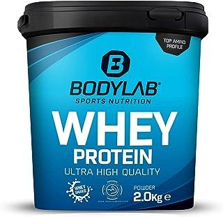 Bodylab24 Proteína Whey 2kg | Proteína de suero en polvo para antes y después del entrenamiento | Para batido de proteínas para masa muscular | 80% Proteína | Sin Gluten | Nata y Galletas