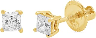 0.5 ct Brilliant Princess Cut Solitaire Highest Quality Moissanite Anniversary gift Stud Earrings Real Solid 14k Yellow Gold Screw Back