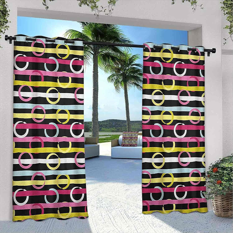 Printed Outdoor Stripes Curtain Circles Patt Kansas City Mall Max 71% OFF Geometric Colorful