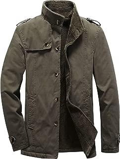 Men's Winter Fleece Windproof Jacket Outerwear Single Breasted Classic Cotton Jacket Coats