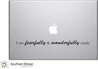 I Am Fearfully and Wonderfully Made Bible Verse Vinyl Car Sticker Symbol Silhouette Keypad Track Pad Decal Laptop Skin Ipad Macbook Window Truck Motorcycle