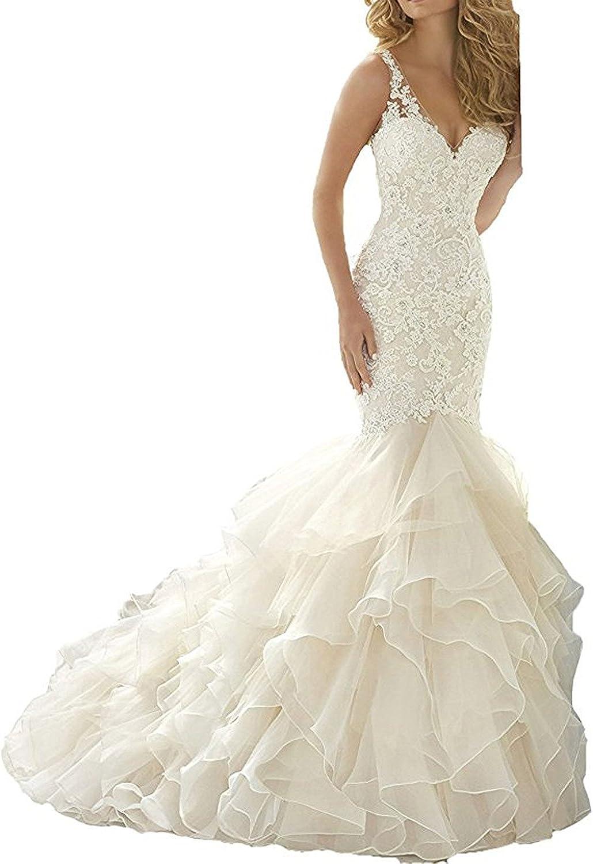Changjie Women's VNeck Mermaid Lace Applique Wedding Dresses Bridal Gown