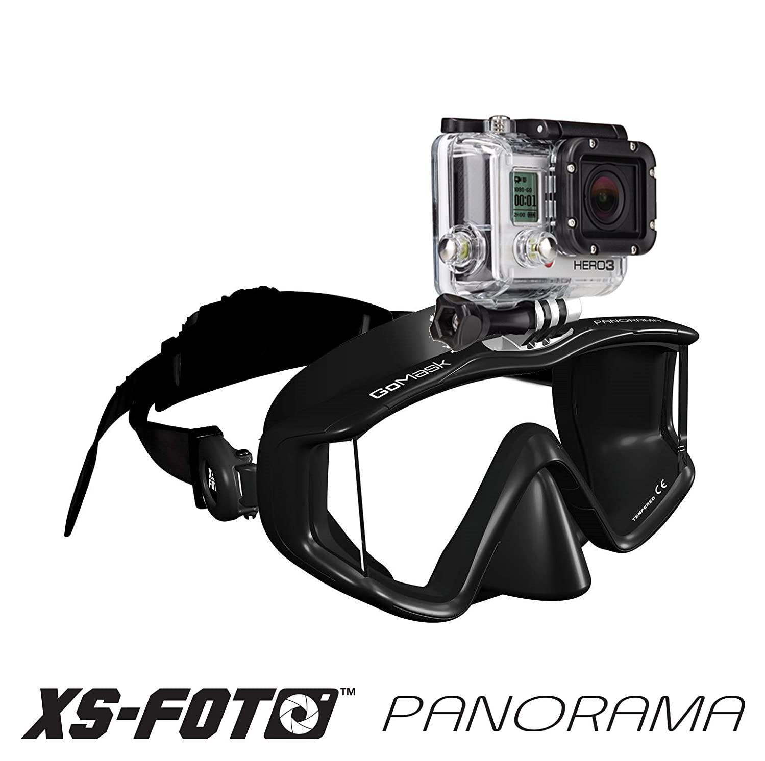 PANORAMA - 3 WINDOW - Extra Qwik Comfort Strap - Built-in Stainless Steel Camera Mount - GoPro Diving Mask GoMask by XS Foto (MA580)