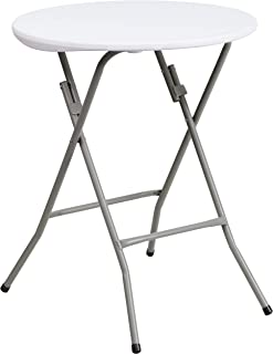 Flash Furniture 2-Foot Round Granite White Plastic Folding Table - DAD-YCZ-80R-1-SM-GW-GG