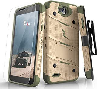 ZIZO Bolt Series LG X Charge Case Military Grade Drop Tested with Tempered Glass Screen Protector Holster Desert TAN CAMO Green