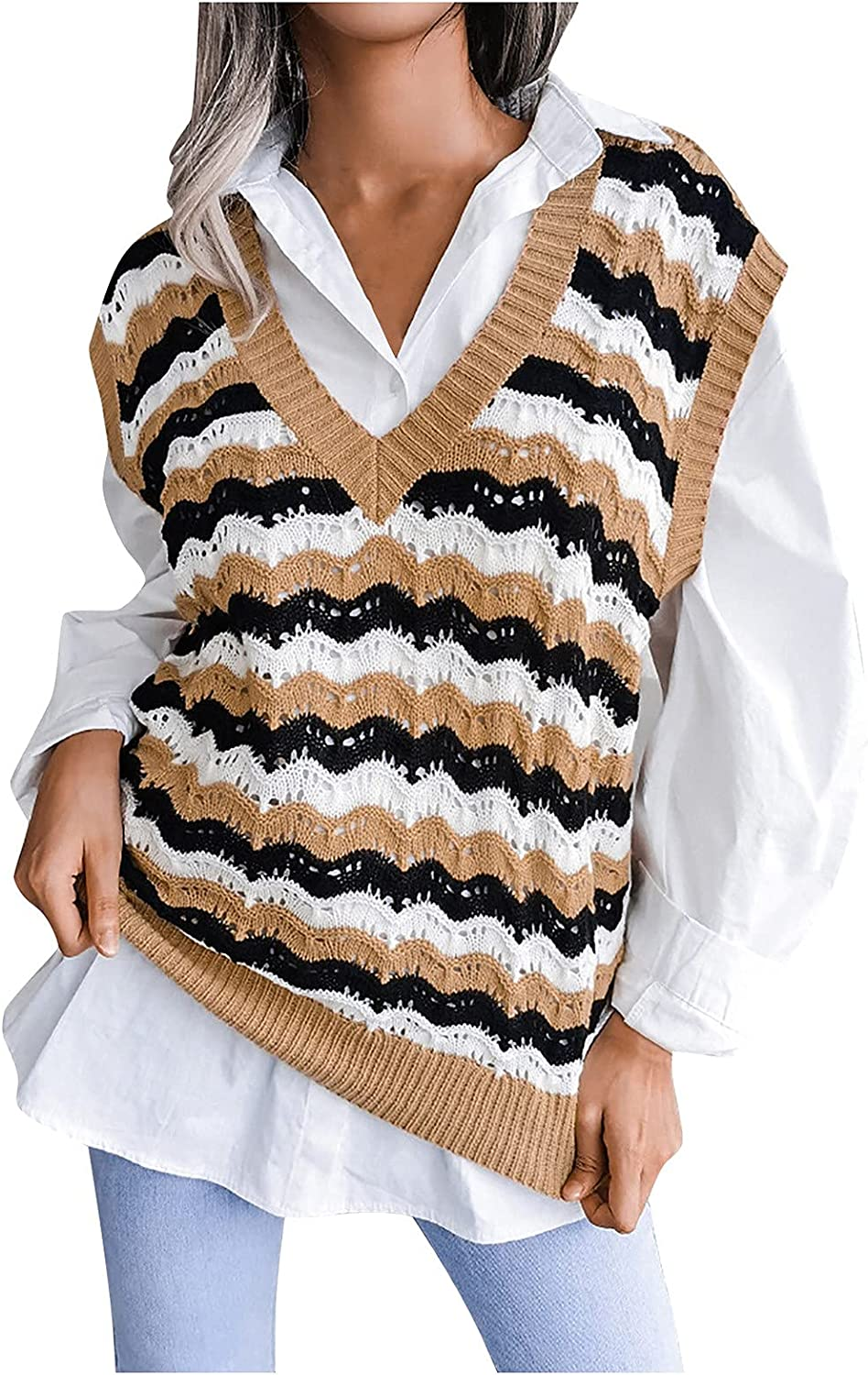 Tops for Women Casual Loose Knit Vest Fashion Women's Striped Hollow V-neck Sweater
