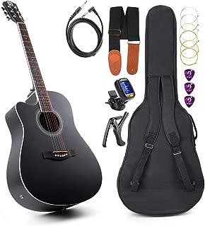 Left Handed Guitar Acoustic Electric Cutaway Guitar 41 Inch Full-size Beginner kit Professional black guitar Left Hand, by Vangoa