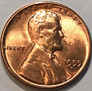 1955 S Lincoln Wheat Cent Penny Nearly Choice Brilliant Uncirculated
