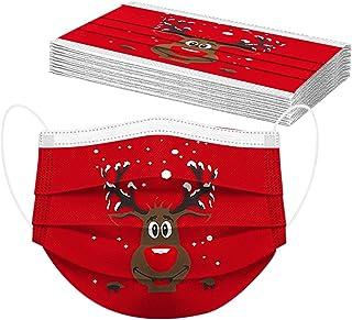 Zilosconcy 10 Stück Erwachsene Mundschutz Einweg 3-lagig mit Weihnachtsmotiv Bunt Mund und Nasenschutz Lustig Print Weihna...