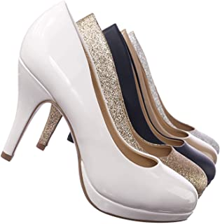 City Classified Comfort Comfortable Foam Padded Round Toe Classic High Heel Pump White Size: 5