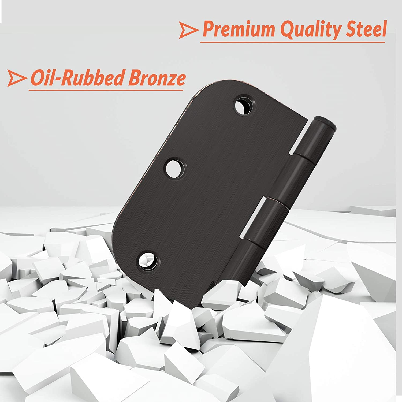 "50 Pack 3.5/"" Oil Rubbed Bronze Interior Door Hinges 5//8/"" Radius Hinge"