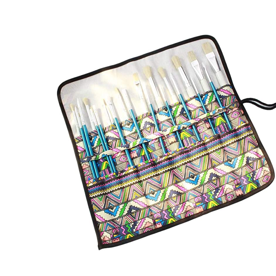 KARRESLY Art Paint Brush Holder,20 Slot Canvas Artist Paint Brushes Case Bag,Roll Up Drawing Pen Pouch Paintbrush Organizer for Artist Studio(Brush is Not Included)-Vintage