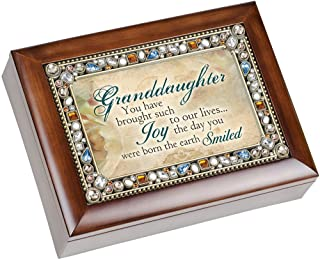 Granddaughter You Have Brought Such Joy Jeweled Musical Music Jewelry Box with Dark Wood Finish Plays What A Wonderful World