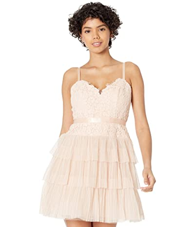 BCBGMAXAZRIA Pleated Tulle with DTM Lace Bodice Evening Dress