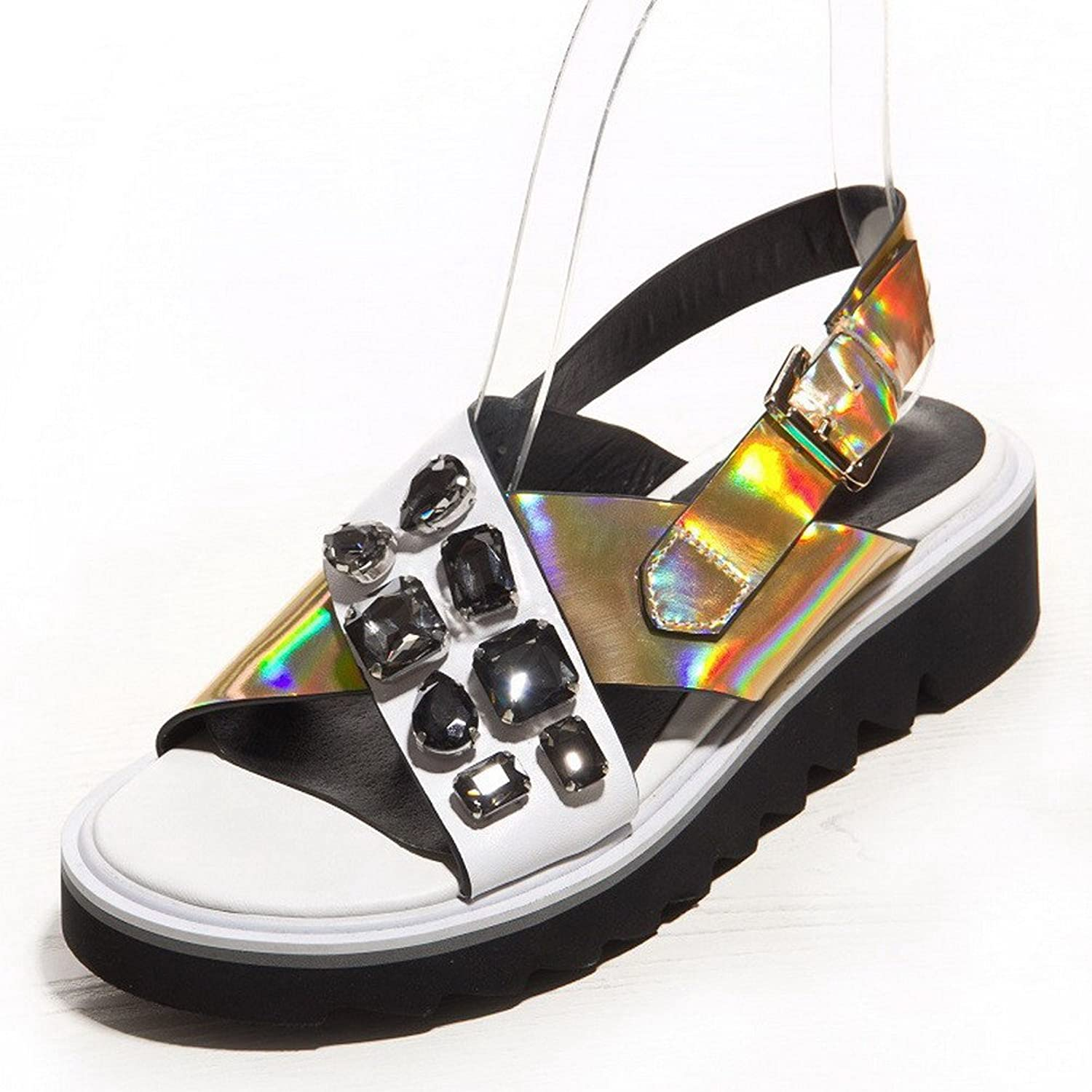 AllhqFashion Women's Round Open Toe Cow Leather Low Heels Assorted color Sandals with Rhinestones