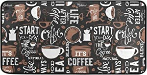 Coffee Kitchen Rugs Floor Mat Eat Signs Anti Fatigue Washable Door Mats for Home & Kitchen & Office Decor Cafe Memory Foam Runner Rug Non-Skid 39x20inch