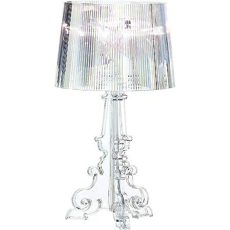 Yozeka Lampe de Chevet Design bureau LED Bourgie de 20 pouces, lampe de chevet chambre table en cristal clair acrylique avec deux ampoules E27 et prise britannique pour chambre, salon (transparent)