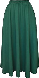 Falda Larga Mujer de Lino Plisado Cintura Elástica Color sólido con Bolsillo