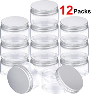 SATINIOR Empty 12 Pack Clear Plastic Slime Storage Favor Jars Wide-Mouth Plastic Containers with Lids for Beauty Products,...