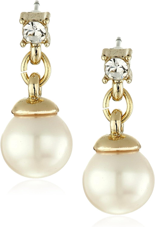 Anne Klein Women's White Pearl Halo Drop Earrings
