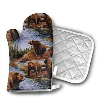 Brown Grizzly Bears Grizzlies Wildlife Forest Animals Oven Mitts,Professional Heat Resistant Microwave BBQ Oven Insulation Thickening Cotton Gloves Baking Pot Mitts Soft Inner Lining Kitchen Cooking