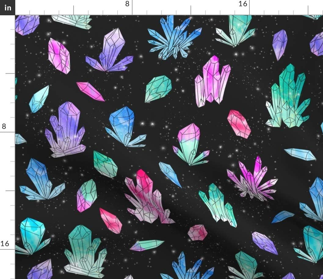 Spoonflower Fabric - Watercolor 引き出物 Crystals Crystal S Black 2020 Geology
