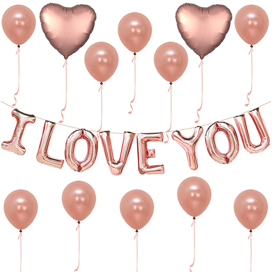 I Love You Balloons, Rose Gold - Pack of 30 - Love Balloons Rose Gold for Valentines Day Decorations - Love Balloon Kit - Pack of 10 Rose Gold Latex Balloons - I Love You Balloons - Ribbon Included