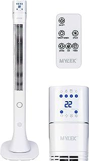 Ventilador de torre oscilante MYLEK® con control remoto, ionizador, temporizador, silencioso y 3 ajustes de velocidad de refrigeración, eficiencia energética - blanco, 48