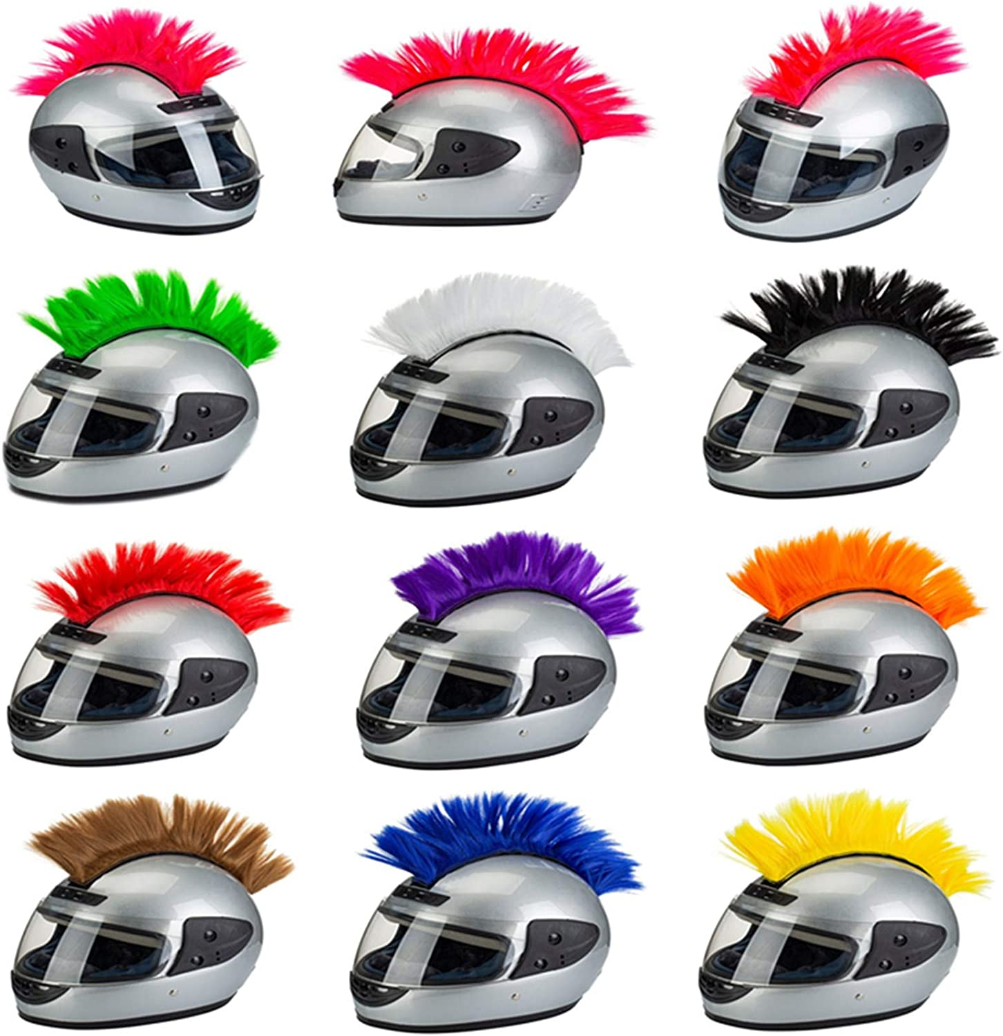 PAXLamb Helmet Mohawk Wigs Skinhead Wig Hair Patches Hairpiece for Bicycle Motorcycle Cycling Scooters Polo Ski Snowboard Cosplay Costume