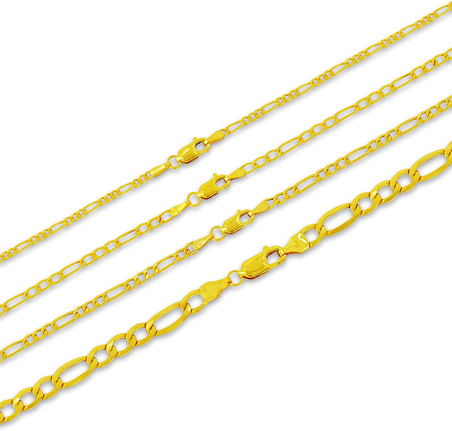 PORI JEWELERS 10K Gold 2MM, 2.3MM, 3MM, 3.5MM, 5.5MM, 7MM, 8MM Figaro 3+1 Link Chain Necklace or Bracelet - Yellow, White or Rose Gold - 7