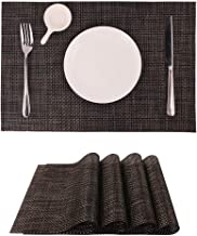 Washable Placemat, Non-Slip Insulation Vinyl Table Mats, Set of 4 pcs, Crossweave Woven, 18x13 inches