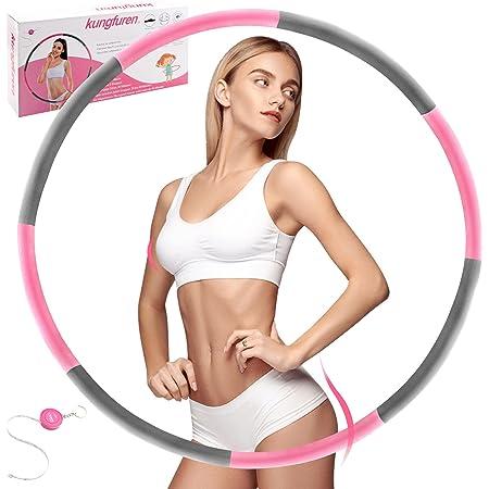 kungfuren Fitness Reifen Hoop,Hula Ring Reifen Erwachsene zur Gewichtsreduktion,Stabiler Edelstahlkern mit Premium Schaumstoff Baumwolle für Fitness Training, 8 Segmente mit Bandmaß