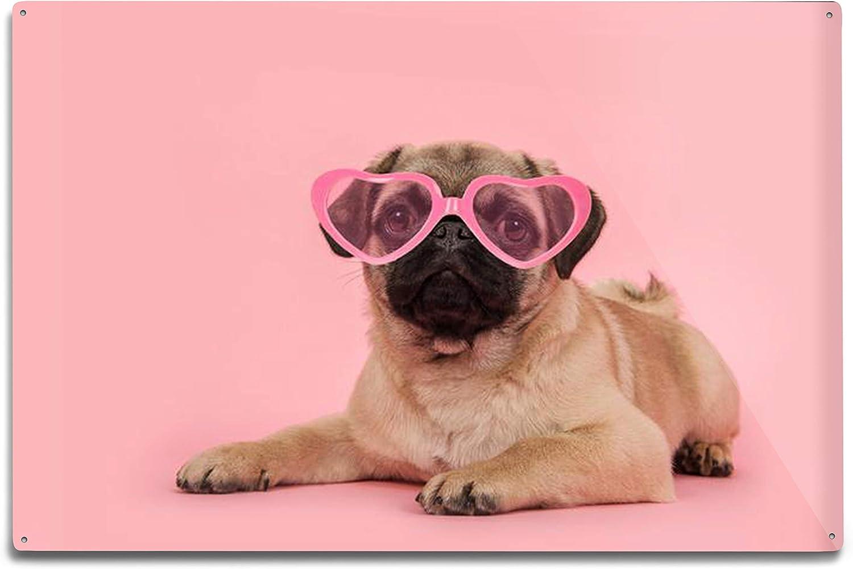 Pug art aceo dog and girl art card original pink