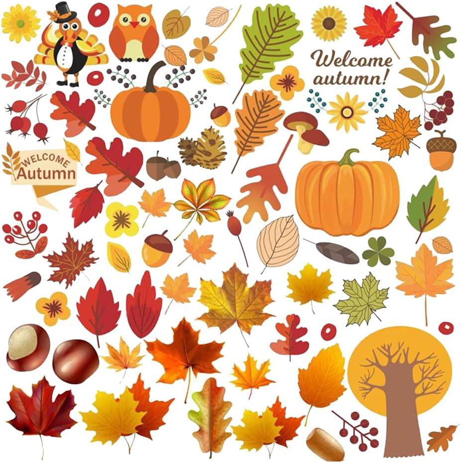 Over item handling ☆ beyda 12pcs Maple Leaf Set Pumpkin Autumn Window Elemen Financial sales sale Stickers
