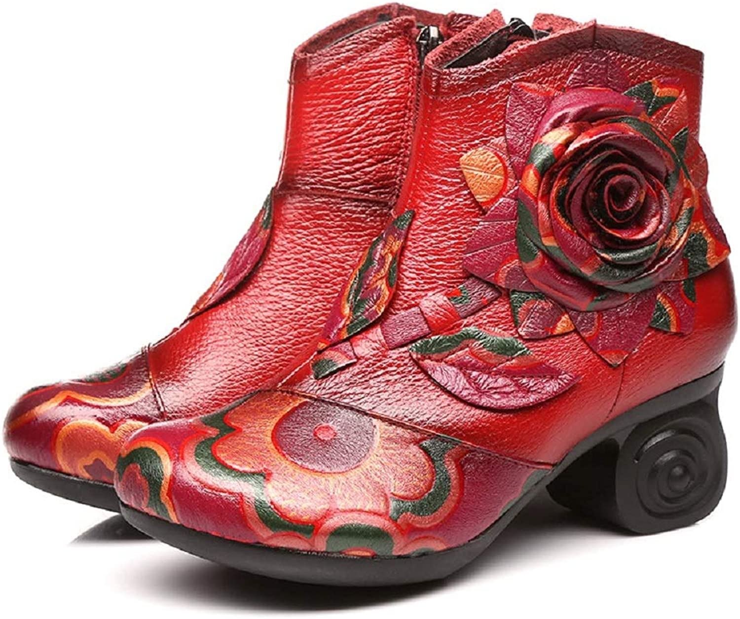 LingGT Vintage Women Boots Leather Flower Print Leather shoes (color   Red, Size   CA 8)