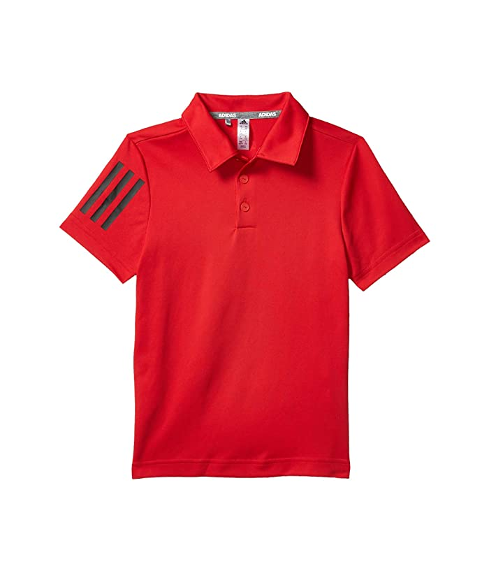 adidas Golf Kids  3-Stripes Polo Shirt (Little Kids/Big Kids) (Collegiate Red) Boys Clothing
