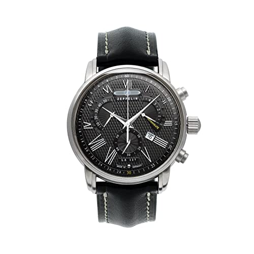 Zeppelin LZ127 Transatlantic Swiss-made Chronograph Mens Date Watch Black 7682-2
