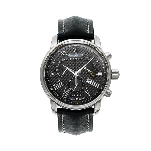 Zeppelin LZ127 Transatlantic Swiss-made Chronograph Mens Date Watch Black 7682-2