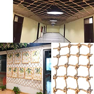 Decor Net ,Anti-fall Net,Hemp Rope Mesh Stair Window Safety Net Outdoor Climbing Mesh Wall Hangings (Color : BEIGE-10CM, S...